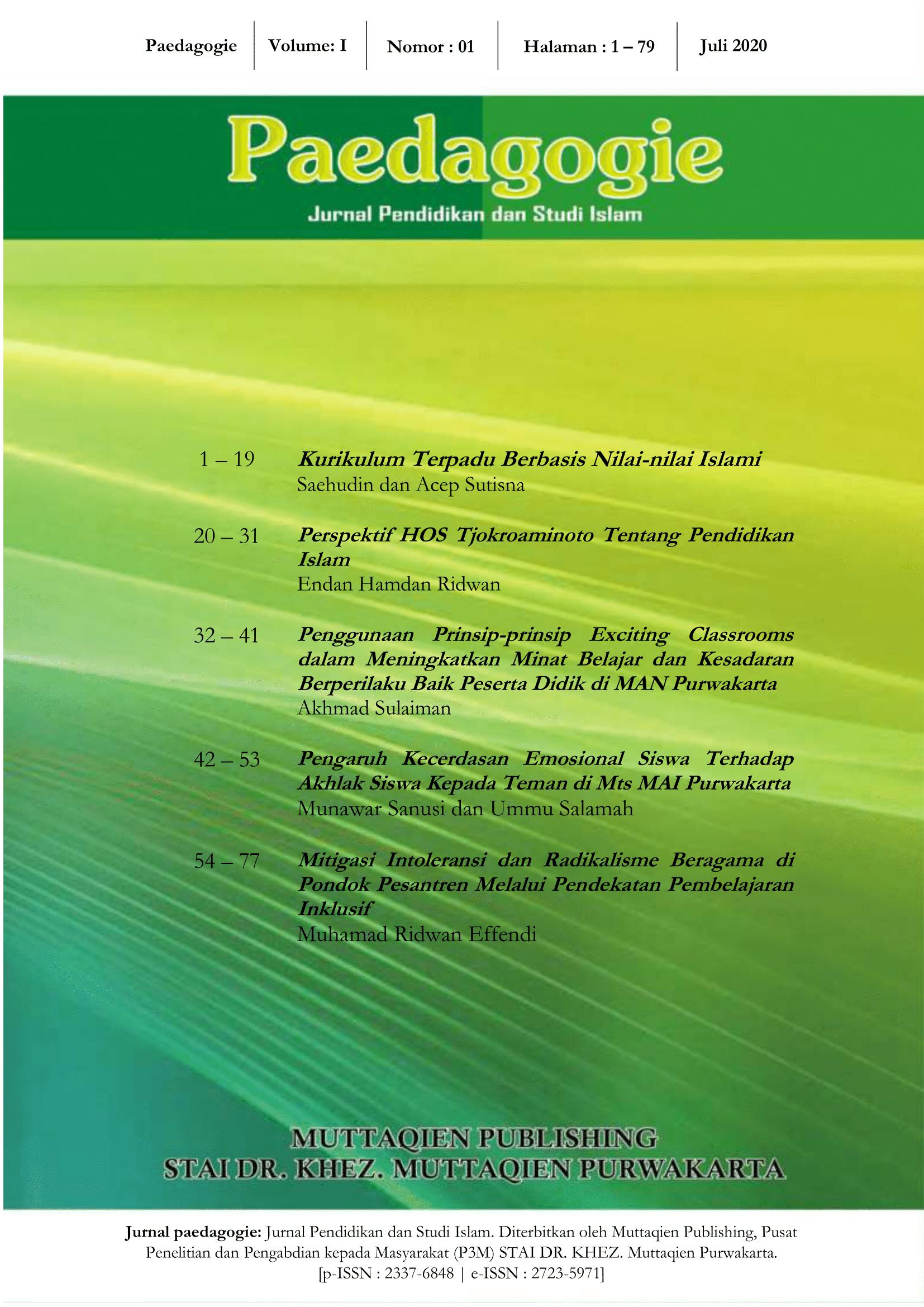 View Vol. 1 No. 1 (2020): Paedagogie; Jurnal Pendidikan dan Studi Islam, Volume 1 Nomor 1, Juli 2020