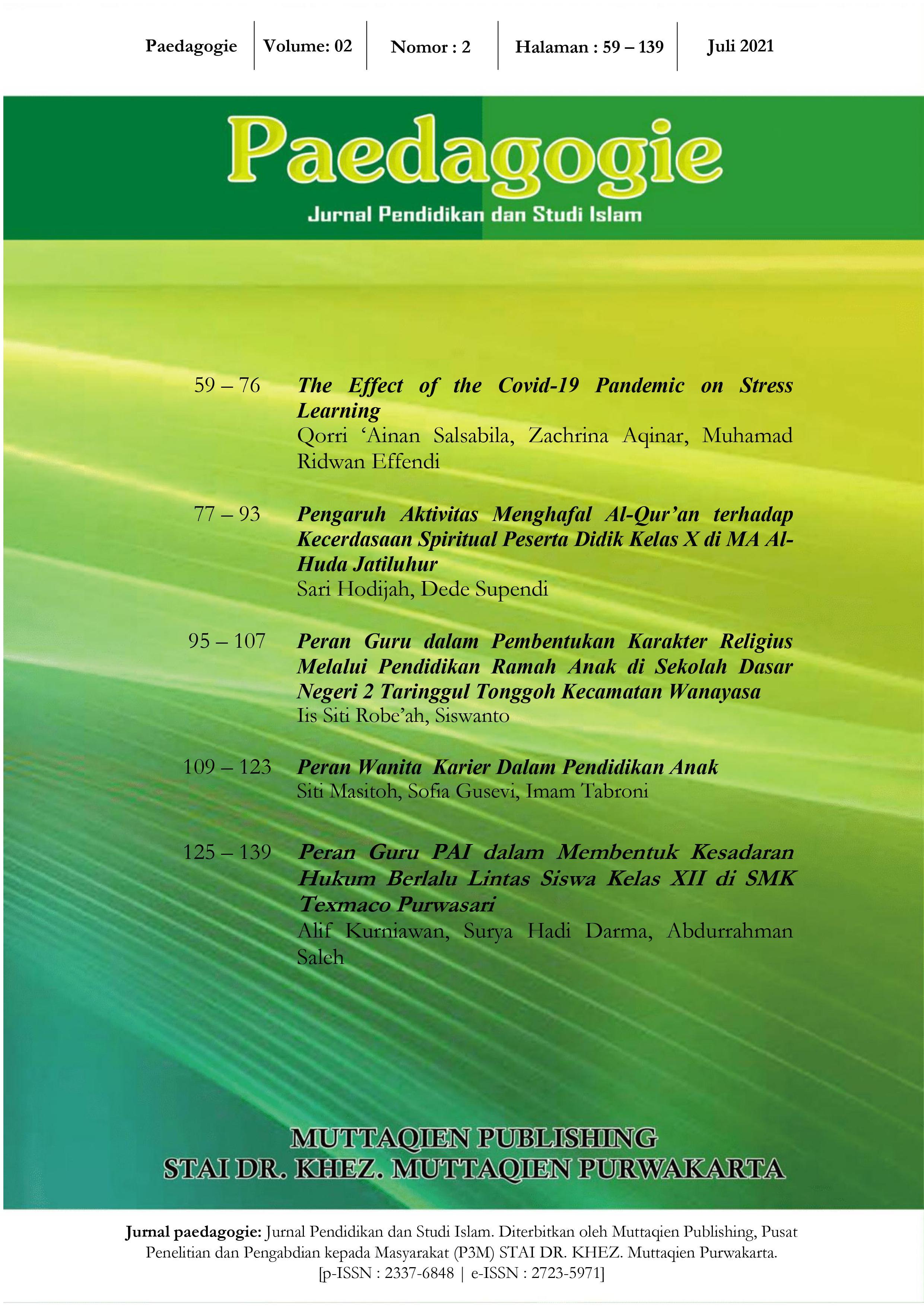 View Vol. 2 No. 02 (2021): Paedagogie: Jurnal Pendidikan dan Studi Islam